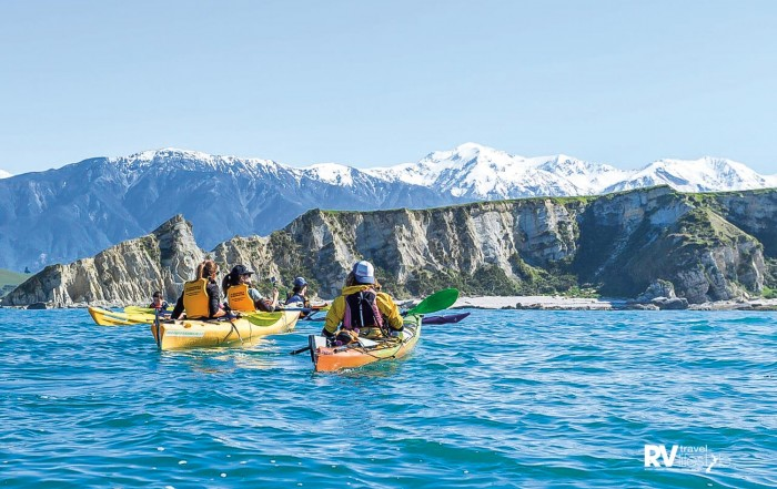 Take to the water in a kayak to explore the coastline up close. Photo Kaikoura Kayaks