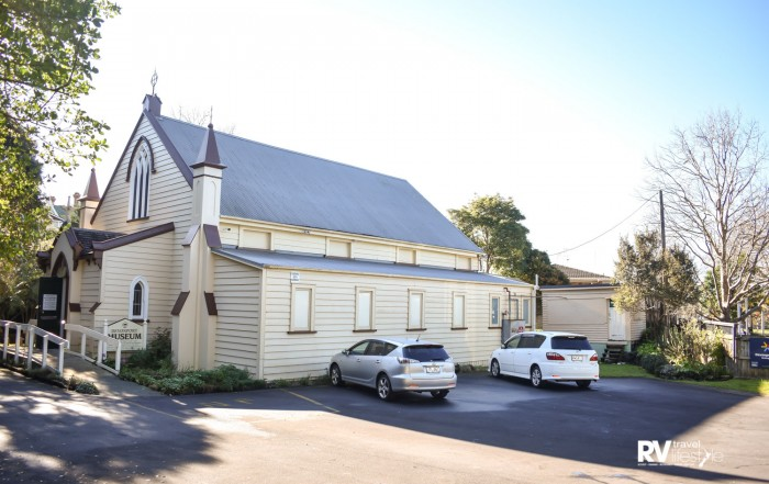 Devonport Museum is housed in a re-sited church building adjacent to Mount Cambria reserve off Vauxhall Road