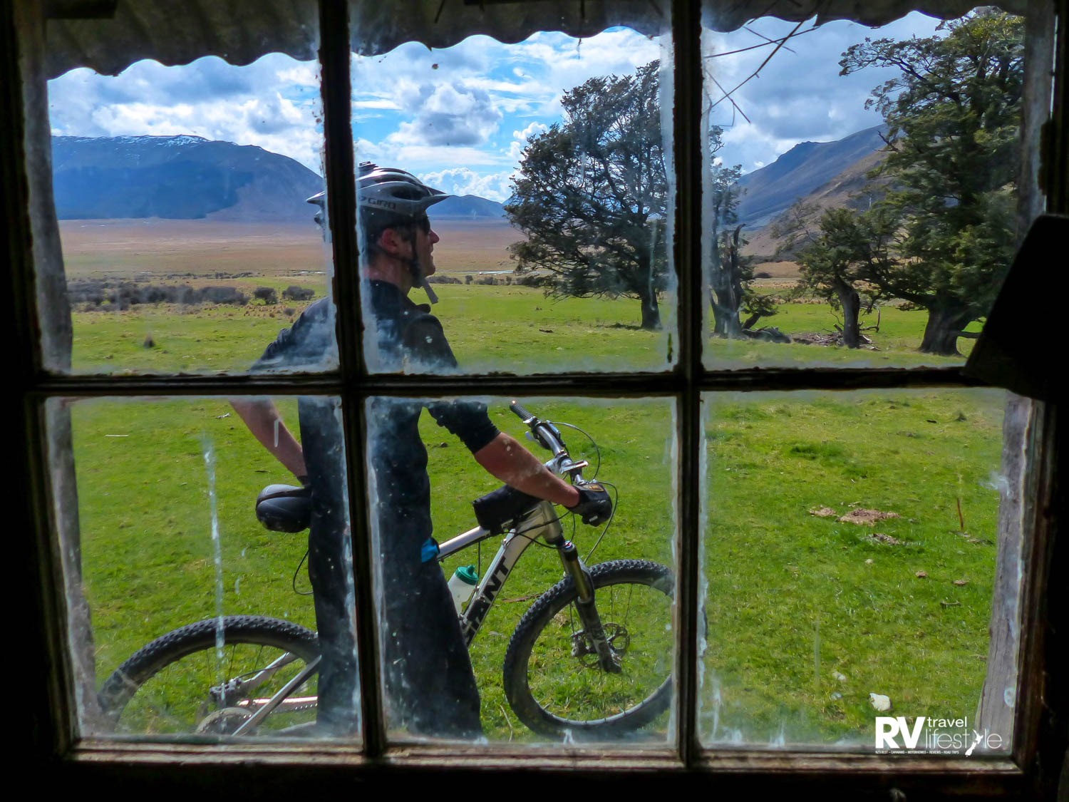 The six-pane window in the hut looks right up the Von