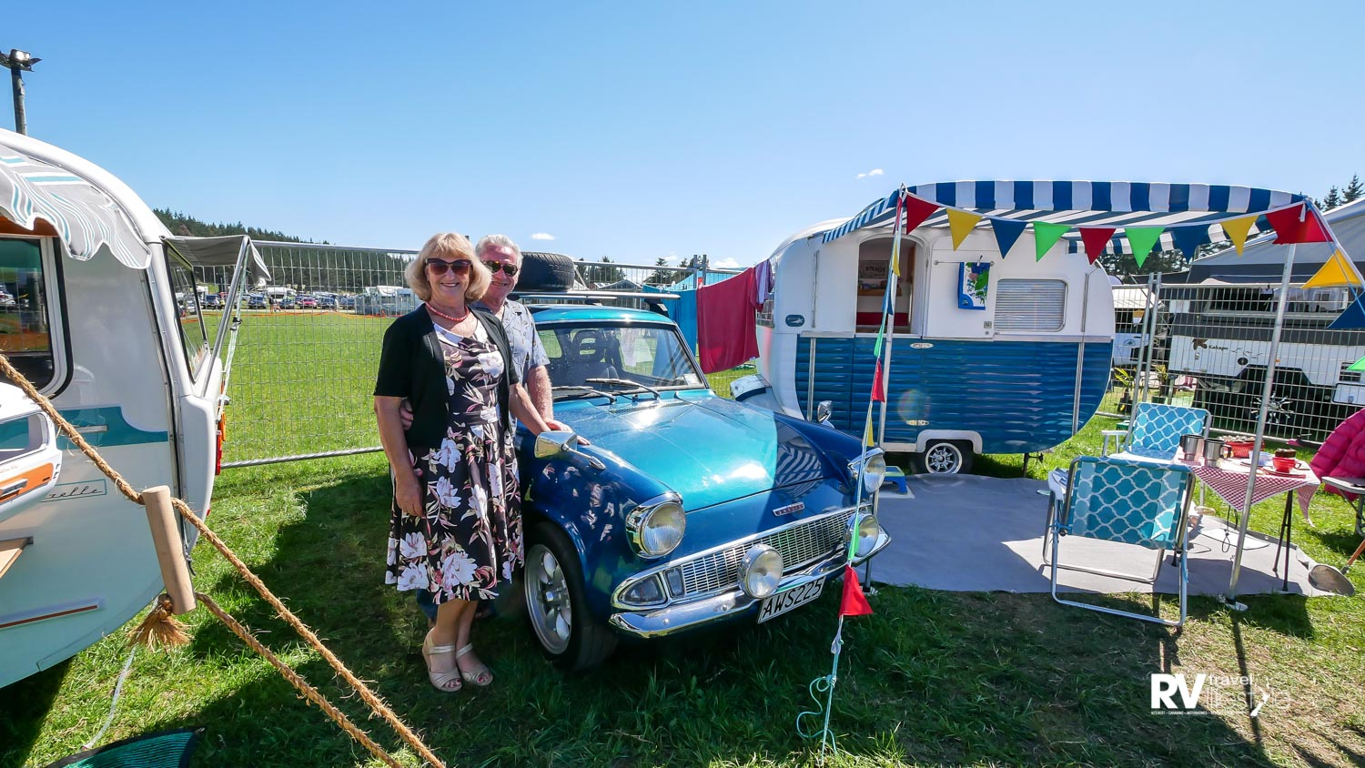 Ross and Karime Gardener, proud owners of the 1962 Ford Anglia matched with the 1956 Starliner Starlette eight-foot caravan
