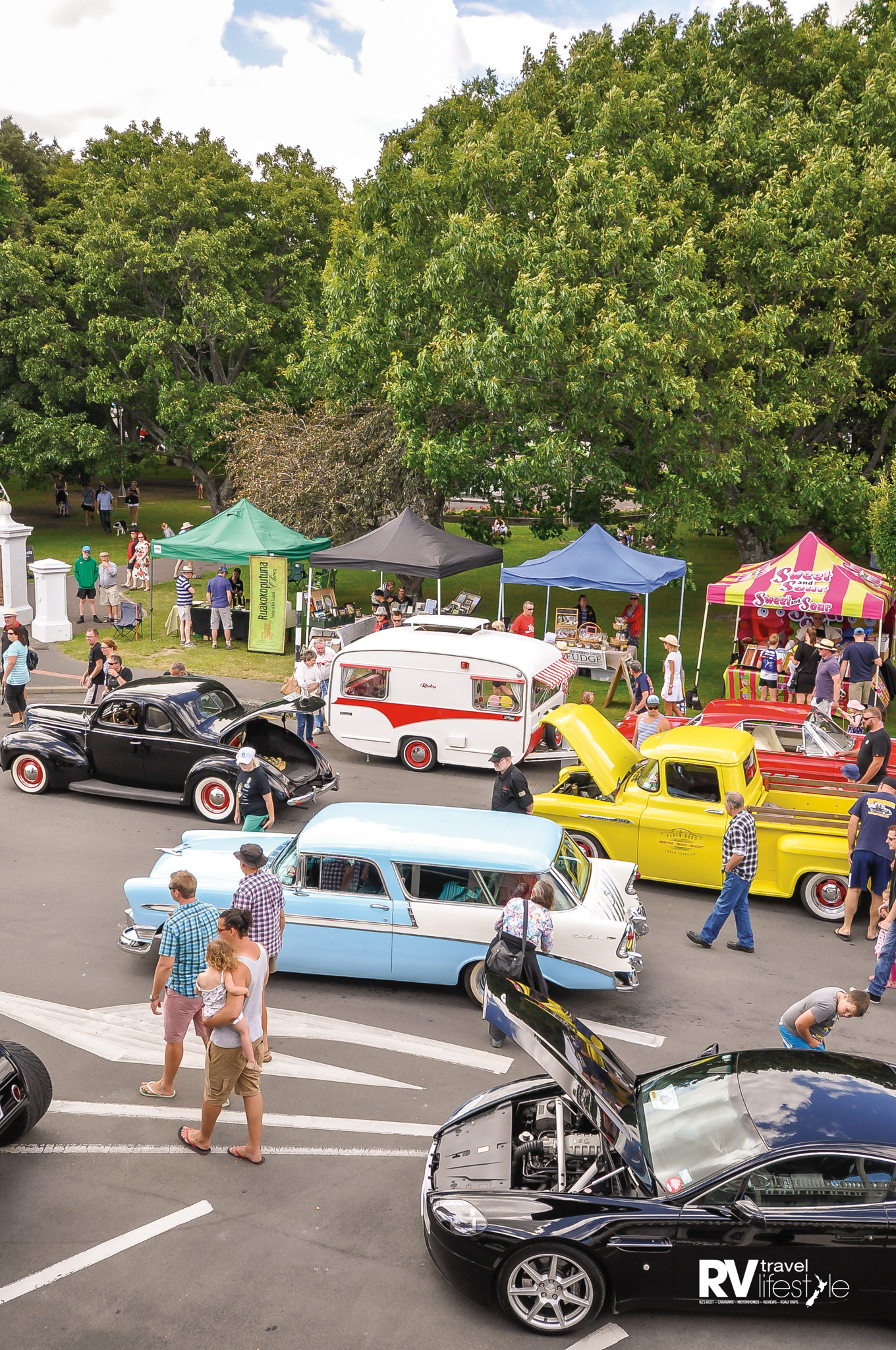 Hot cars and classic caravans at the Cruise Martinborough event this year, held in late January