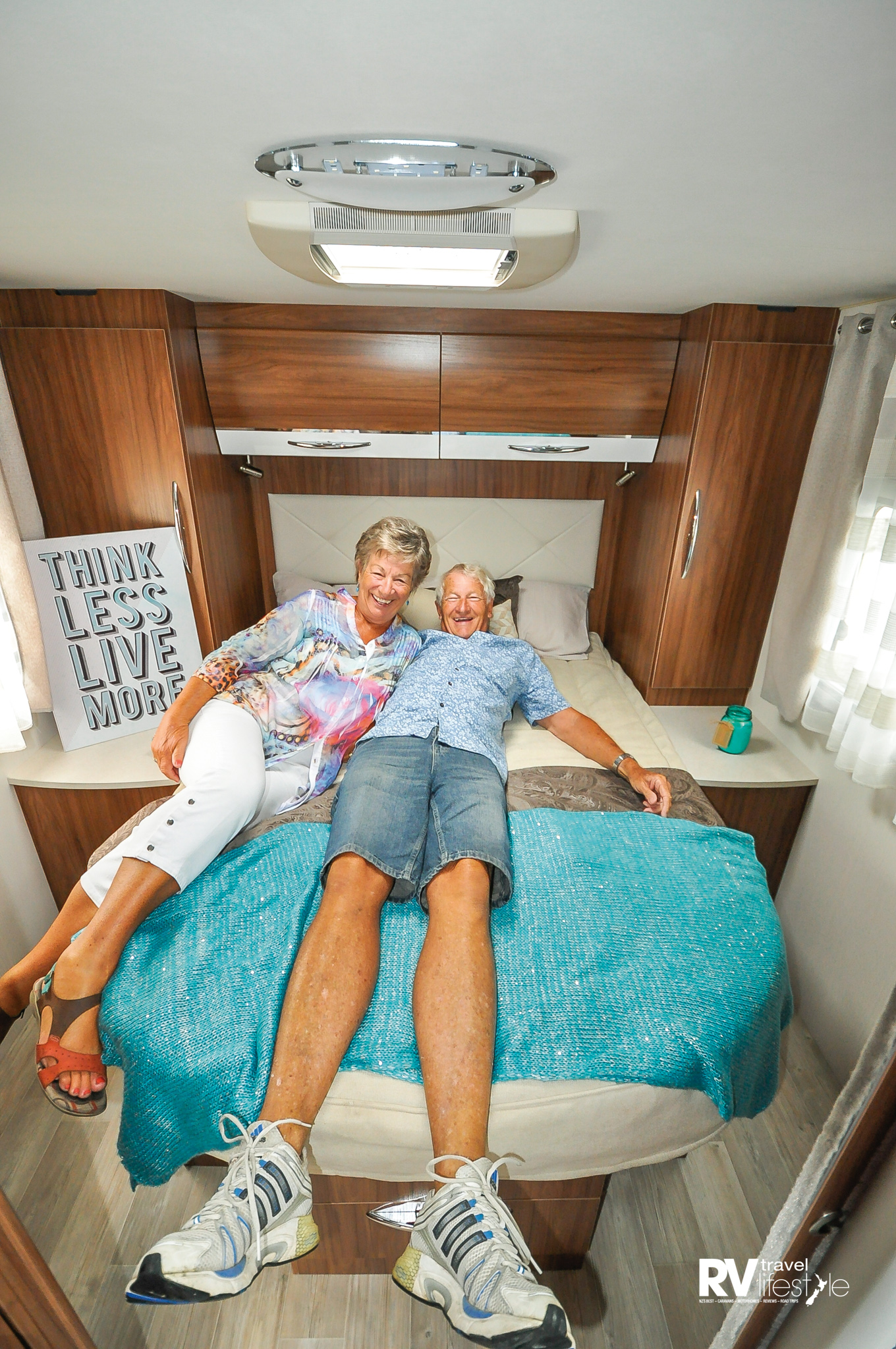 Now we're having fun – I think this couple loved the bedroom! Measuring 1500 x 2050mm, it's a good size bed for most