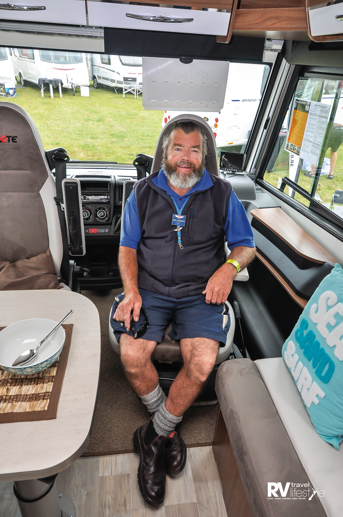 John Coatsworth (Helen's husband so a long time NZMCA member) thinks this Captain's chair is just right for him