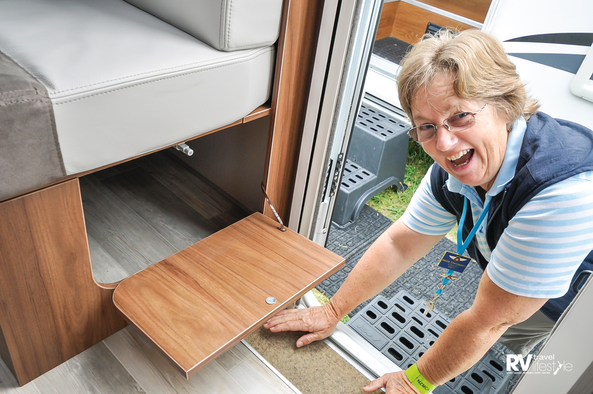 Helen Coatsworth from CBOP is a long-time member of the NZMCA – her number is 6827 and they're into the 60,000 now. Helen spotted the under-seat storage; great for shoes or things you want on your way out or in the door