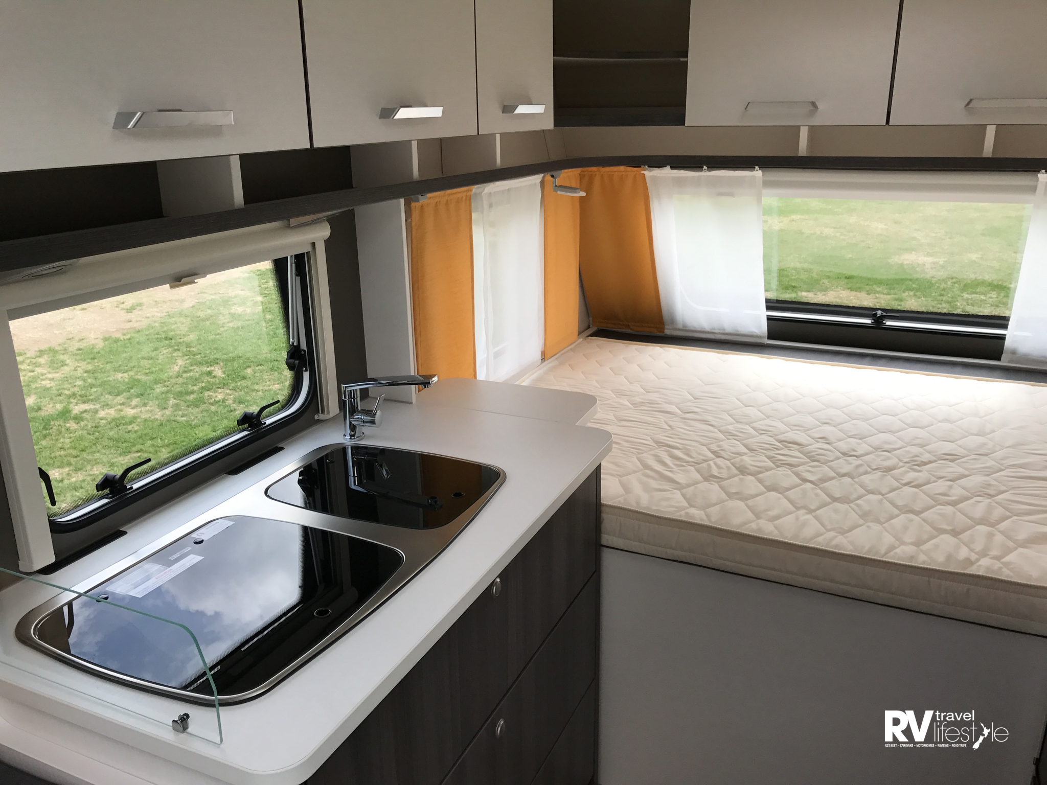 The bathroom is bigger than our motorhome, lots of storage and everything you need right there