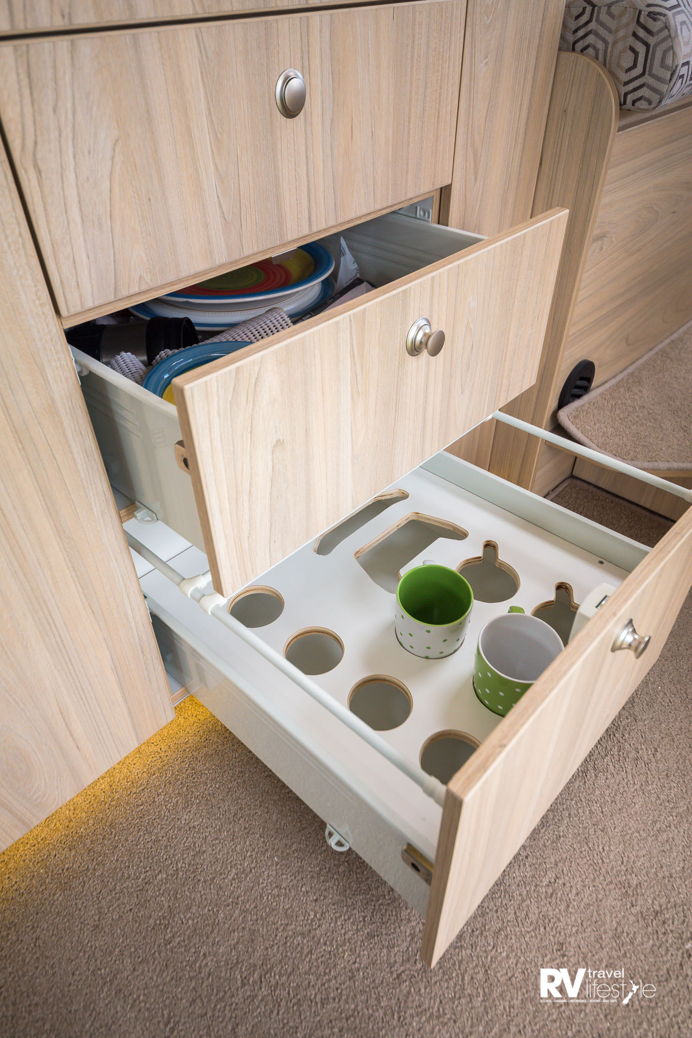 Clever features are revealed when you open the RV's soft-close drawers