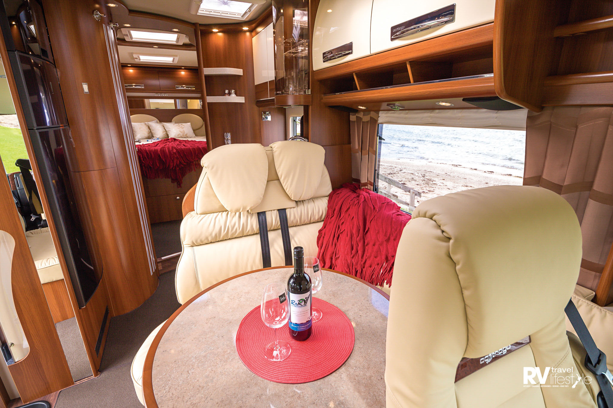 From the front cab the curves, and wood tones with areas of high gloss or mirror are warm and exude the feeling of luxury