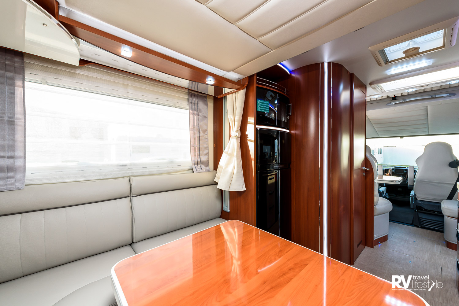 The U-shaped lounge in the rear of the K-Yacht 80 model from Mobilvetta. This area also has an electric drop-down main bed in the ceiling above the ample living/lounge space – my personal favourite