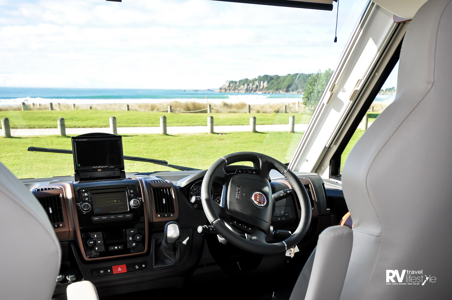 Front-cab seating, controls and the view – lovely