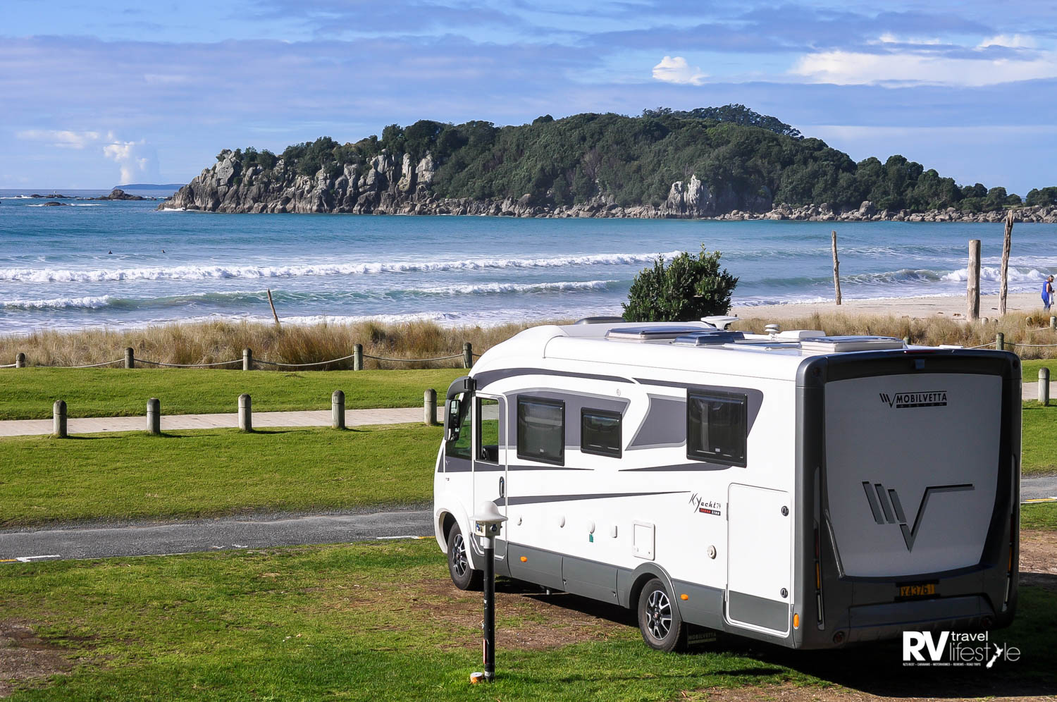 The Fiat Ducato chassis base, 150 Multijet with auto transmission – Mt Maunganui in the background