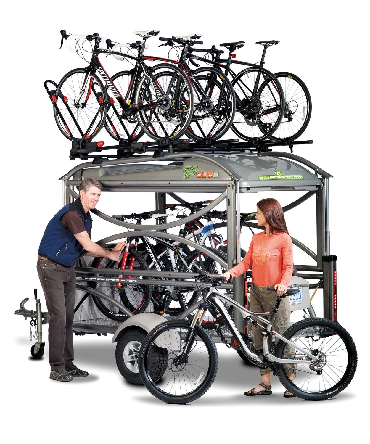 In transport mode the SylvanSport GO can transport up to 12 bikes