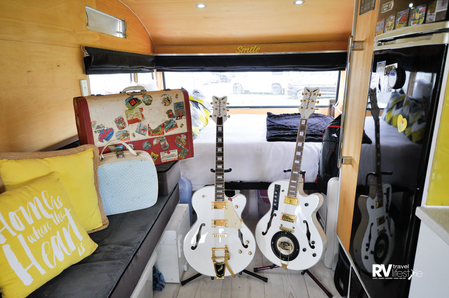 Jemoal's guitar's take pride of place in the sunny interior