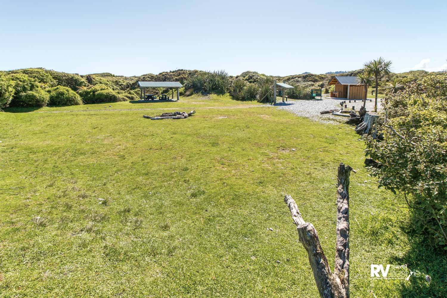 Big open spaces and large grassy areas at Gillespies Beach campground