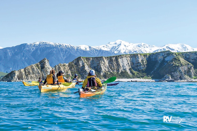 Take to the water in a kayak to explore the coastline up close. Photo Kaikoura Kayaks