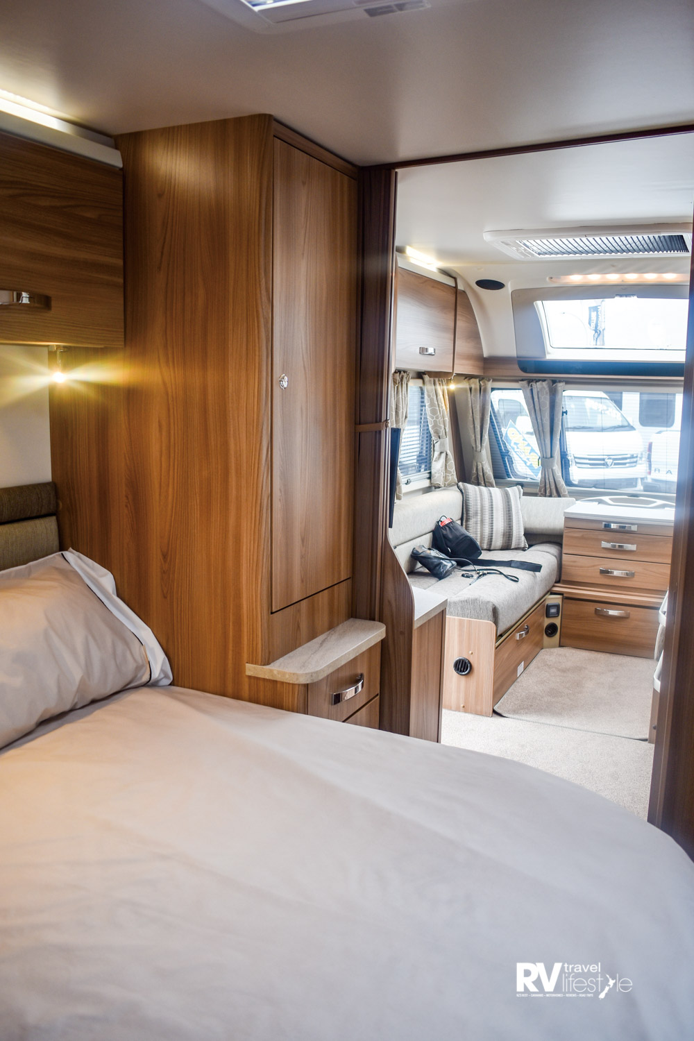 The bedroom becomes a luxurious master with ensuite when two are touring