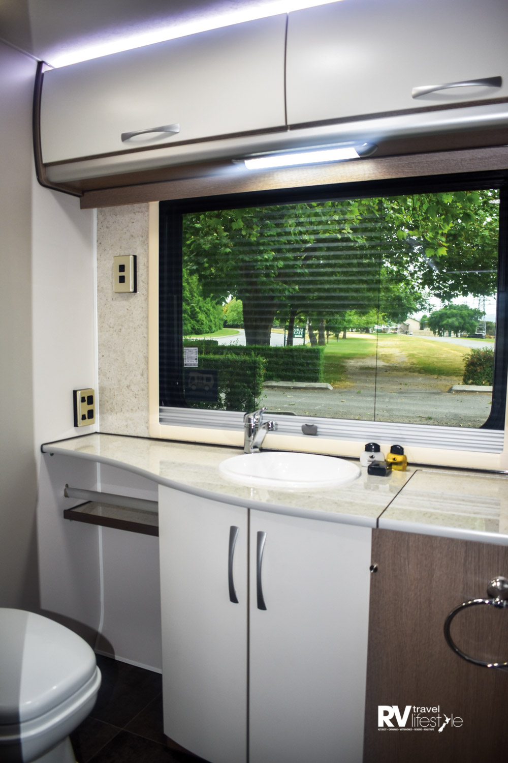 The galley is not only large and functional; it is also well lit and attractively designed