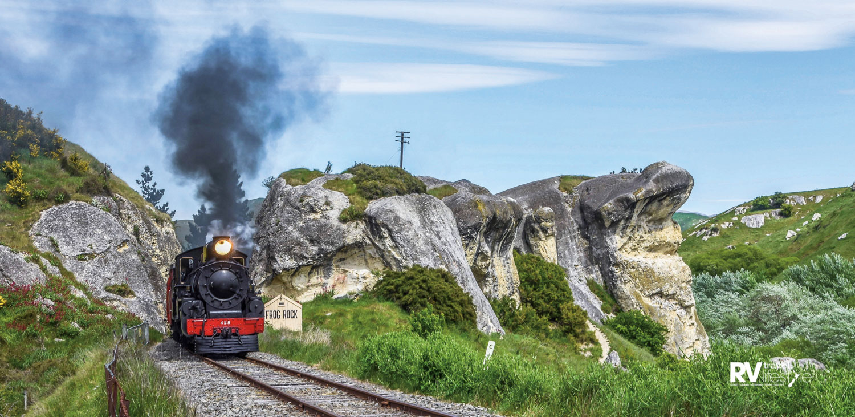 Steam train chugging through Weka Pass, North Canterbury