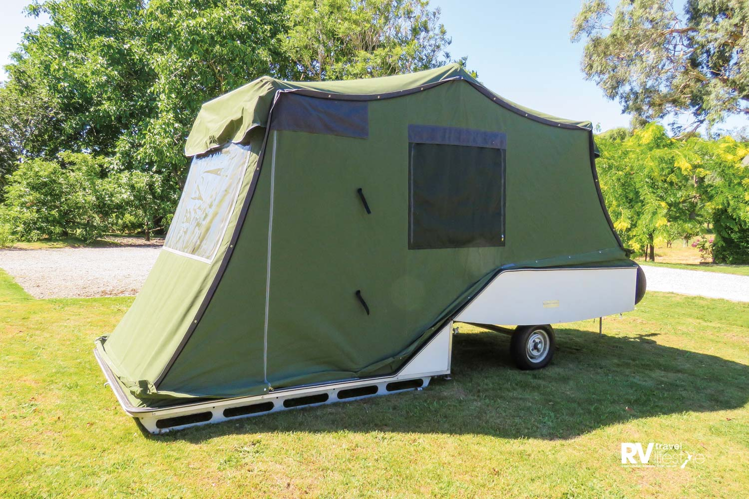 The Camp-o-matic with its smart new canvas and windows with fly screens