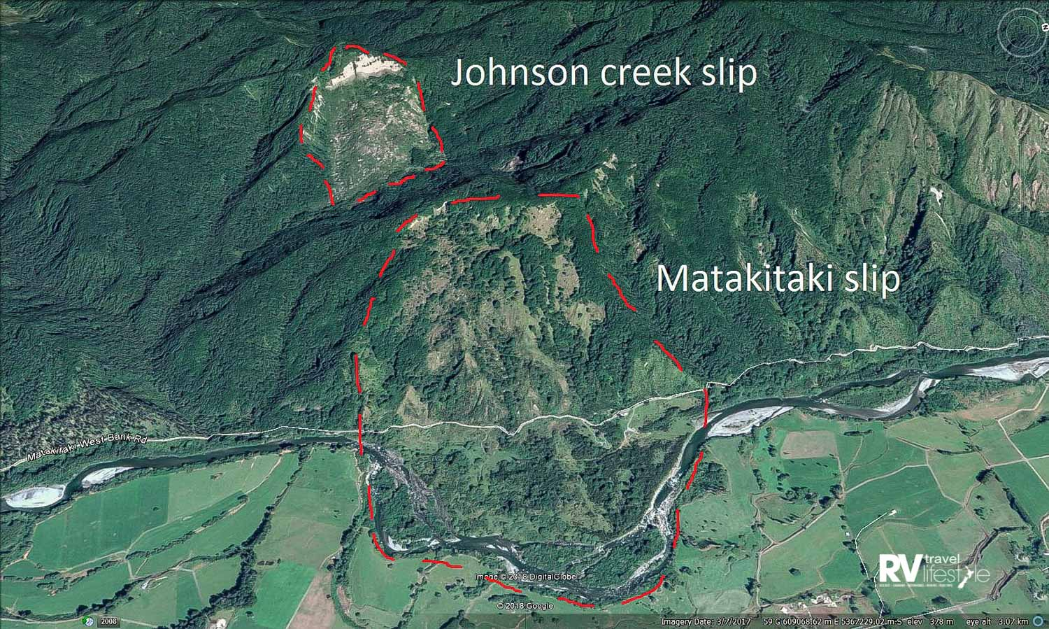 Image showing the massive landslide which pushed the Matakitaki River away from the toe of the hill