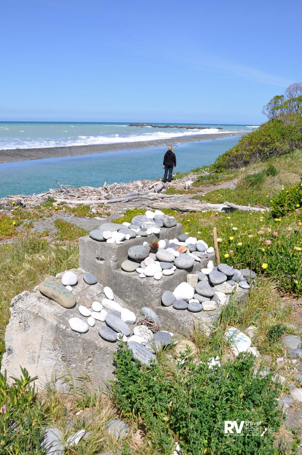 Kekerengu beach at the Store pre earthquake Nov 2016 - we stayed the night here on our way south just a week before the November quake. The rocks on the concrete steps have messages written on them by tourists - but today they have fallen to the ground