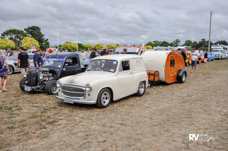 This little pair took our eye straightaway, a 1956 Hillman Husky with hand-built Teardrop caravan
