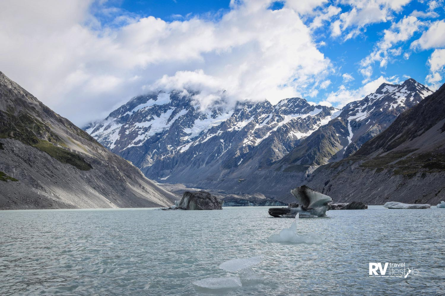 Glacial 'Hooker Lake' with Aoraki/Mt Cook in the background