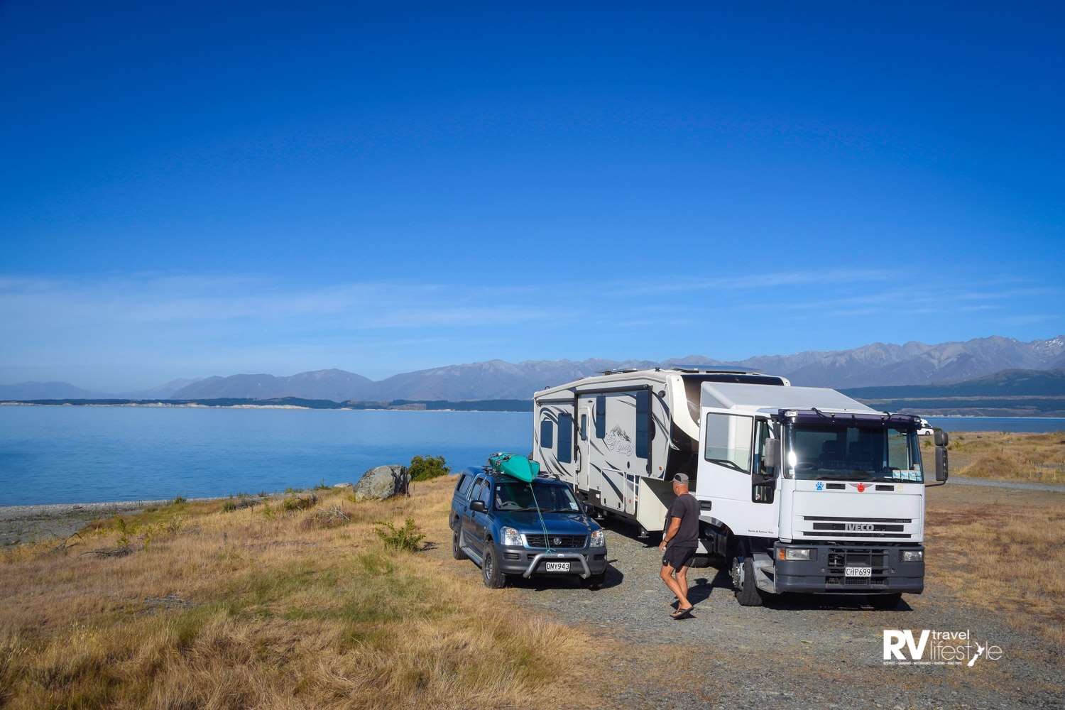 Before leaving Lake Pukaki, Bernie does a check around our fifth-wheeler, then we are ready to go