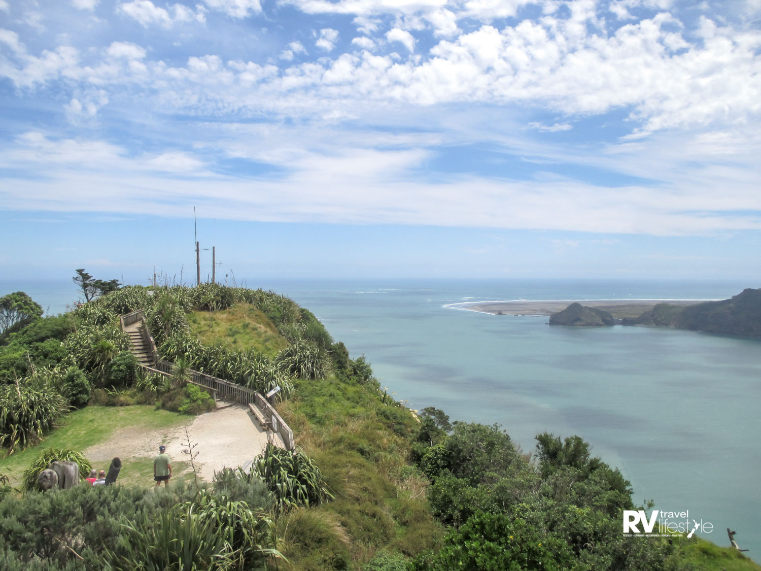 View from the old lighthouse of the entrance to Manukau Harbour with its tricky sandbar
