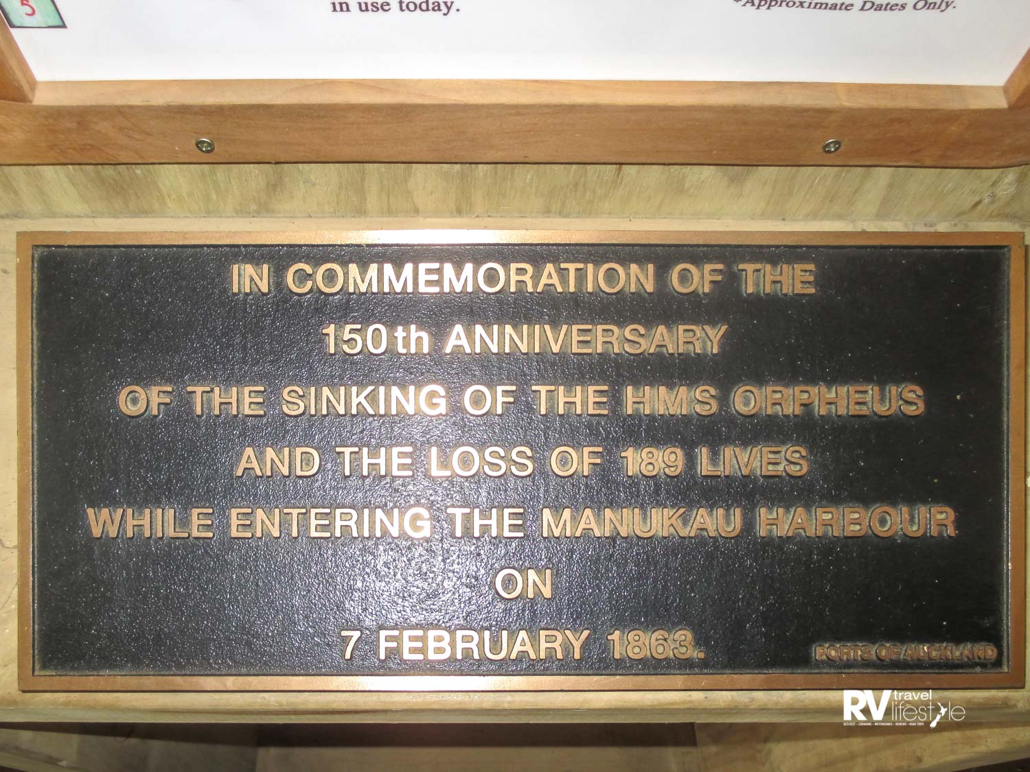 Memorial plaque for the wreck of the Orpheus