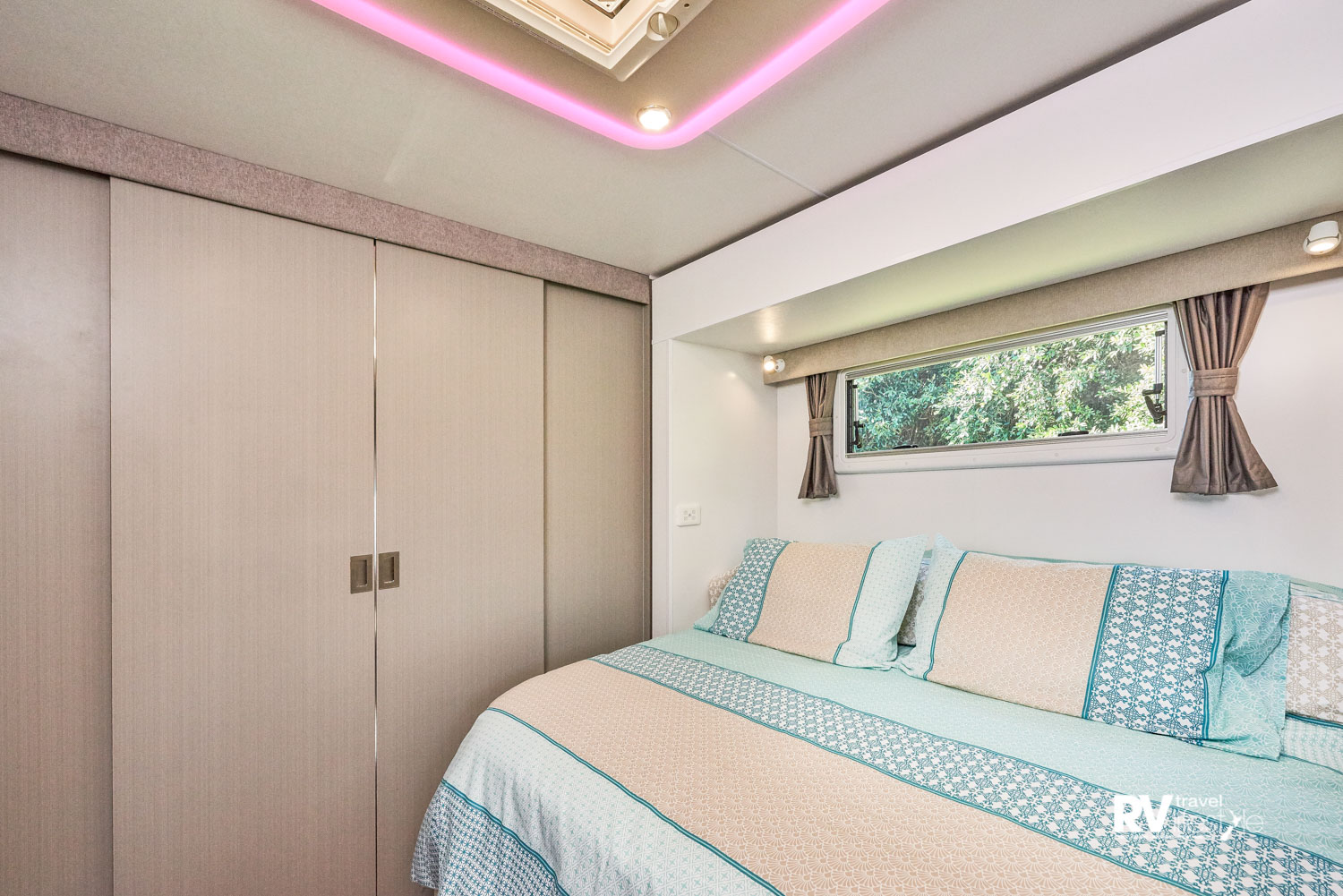 Sliding doors close to separate the bedroom suite