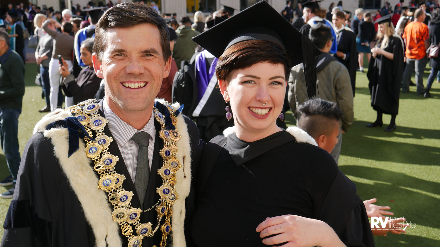 Wellington mayor Justin Lester and Shannon Goudie, a week of graduations in Wellingon. Justin was very accessible to all
