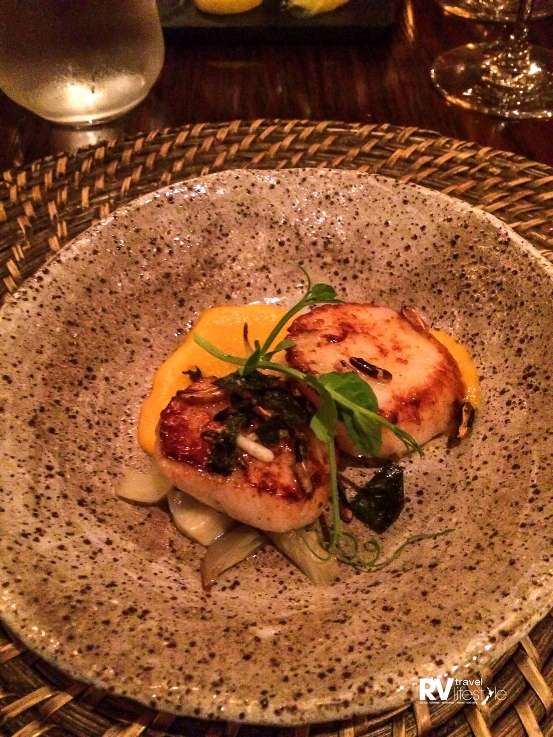 One of my courses on the menu at Wharekauhau, these two scallops were the most delicious I have ever eaten - wow
