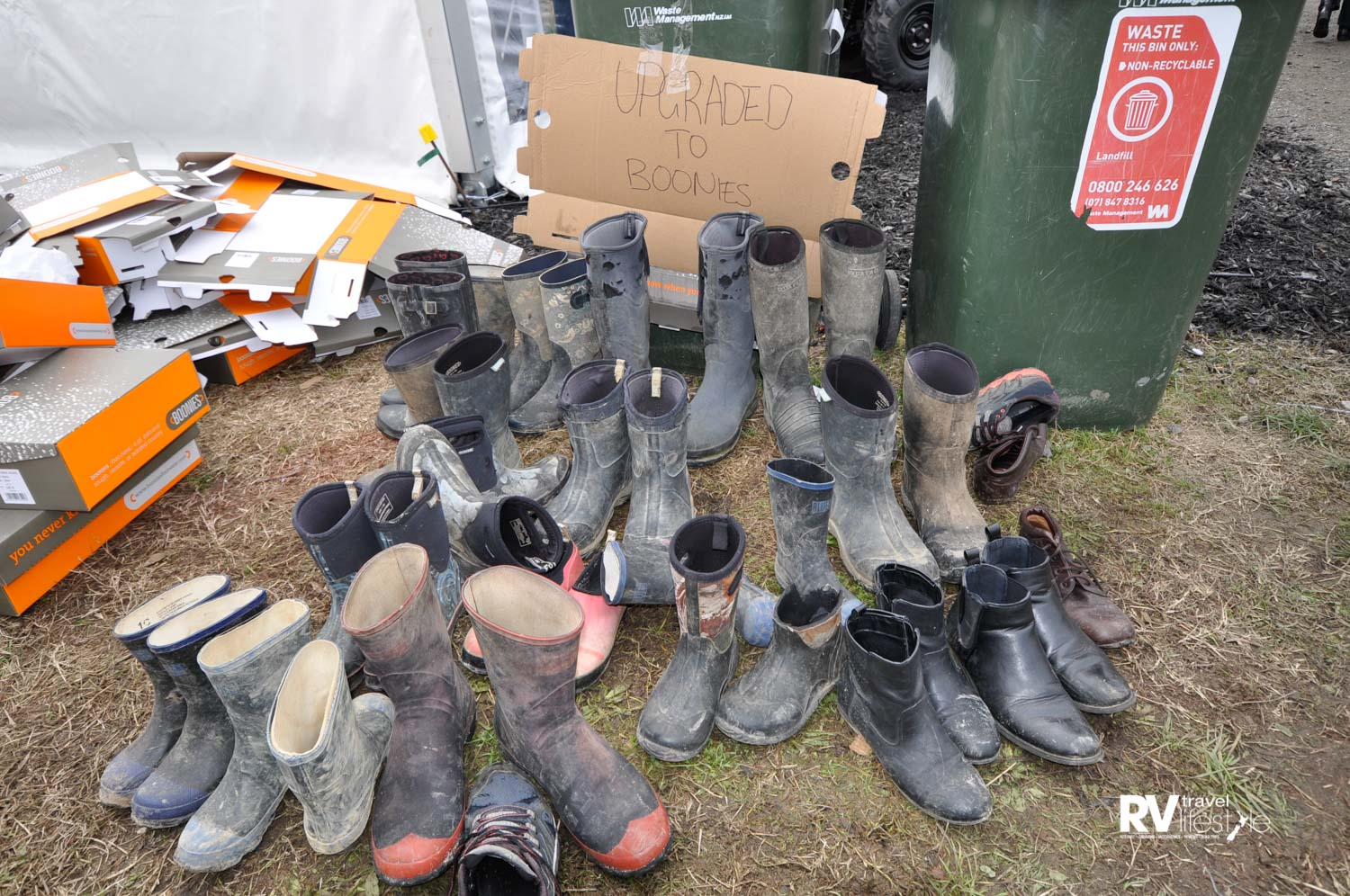A gumboot trade-in pile at Fieldays