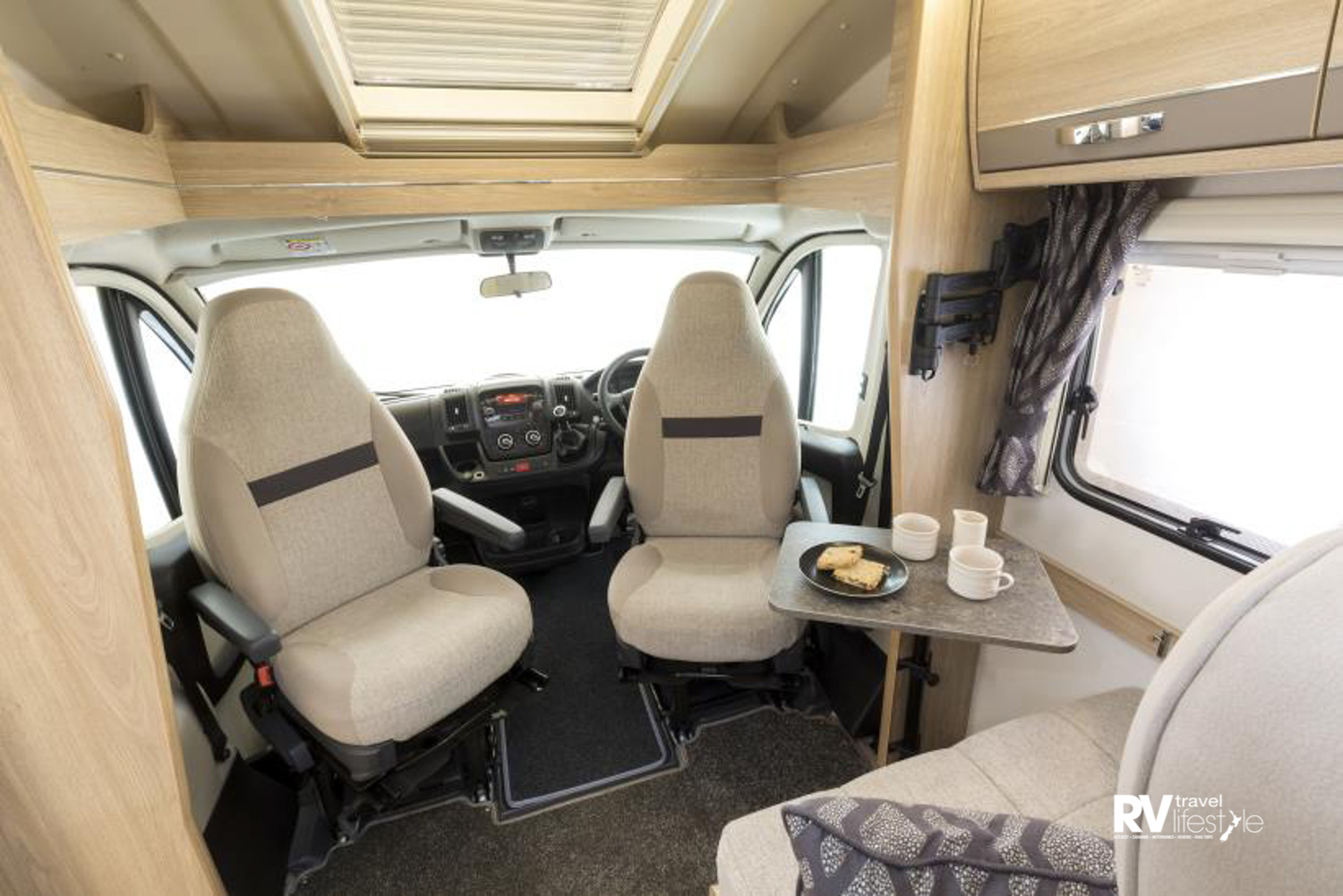 The cab seats swivel to create extra – or alternative – seating when the bed is in use