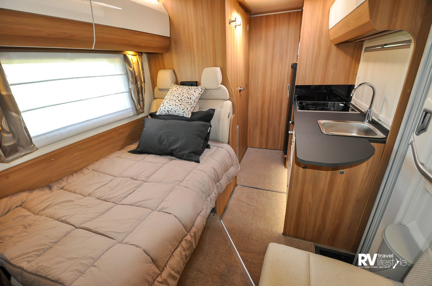 This is the front dinette made into the second berth in the 79-4T 4-berth with the rear bedroom having two single bed layout