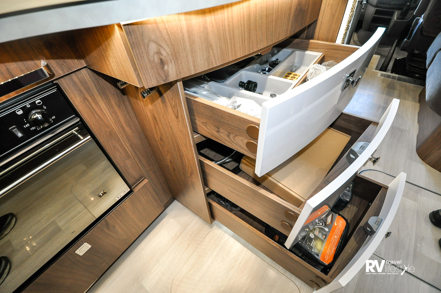 These drawers have real depth (front to back) great storage, and the push-button locks are good quality