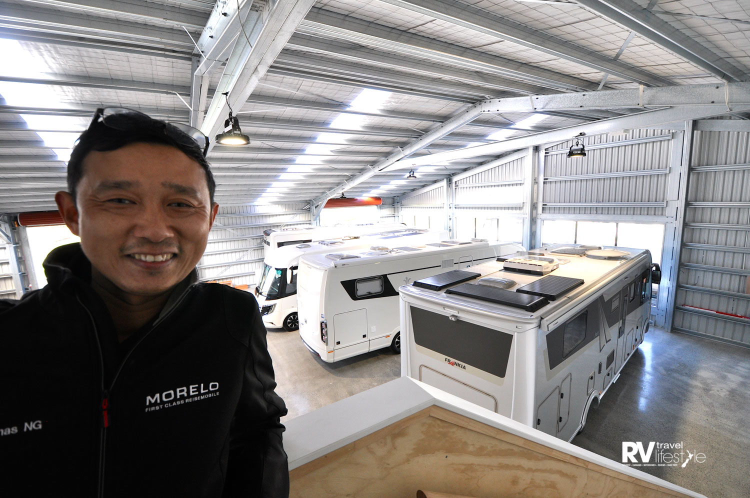Jonas Ng from Zion Motorhomes, very happy to see the big Frankia, Morello and Nieshman+Bischoff motorhomes being driven into the showroom