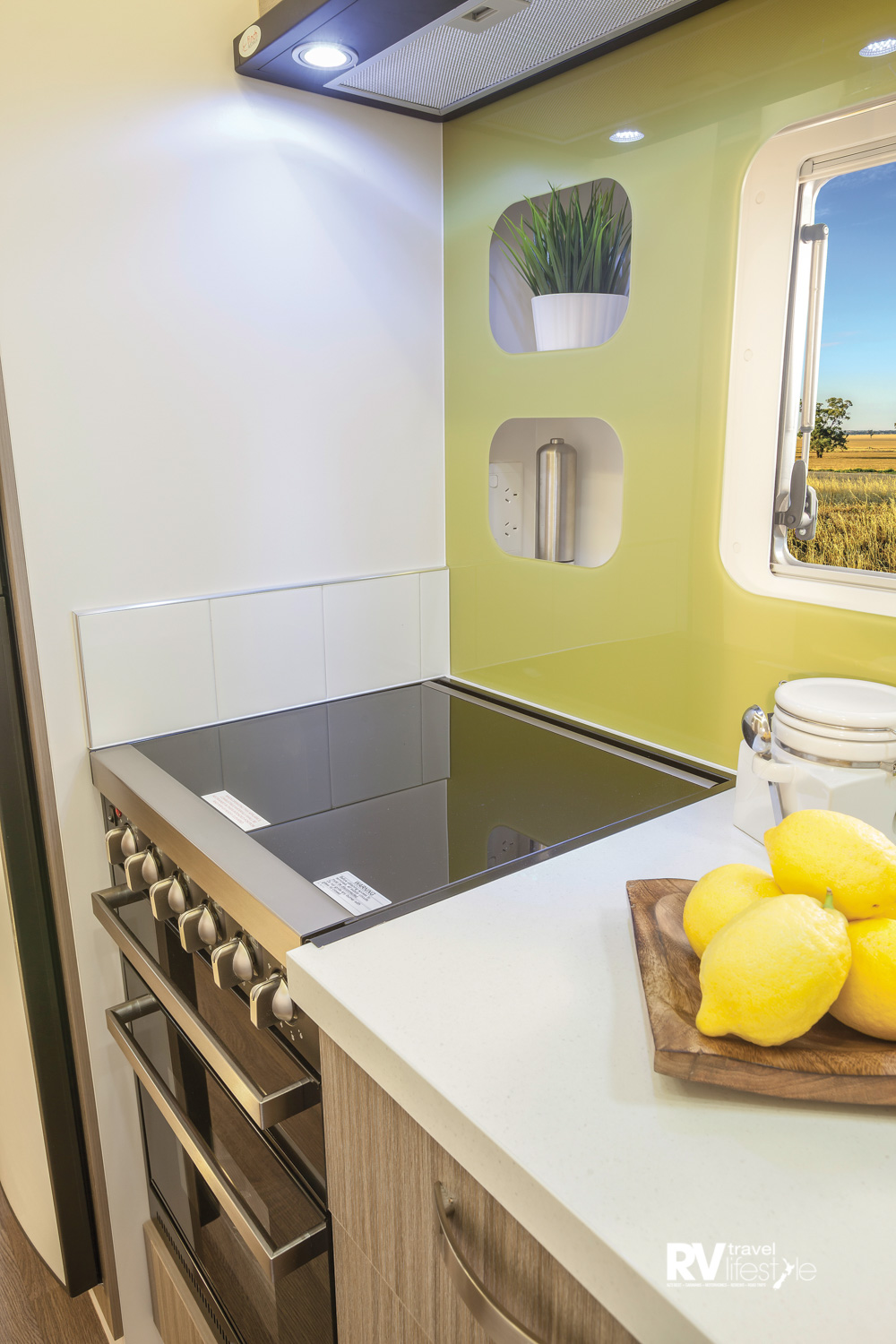 The galley features good bench space, a practical splash back and great overhead lighting