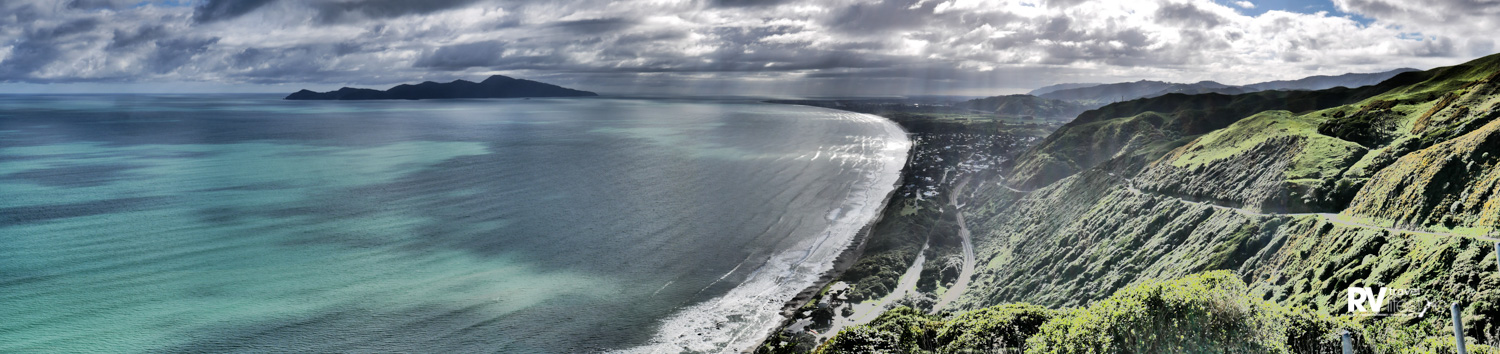 View from the lookout on the Paekakariki Hill – the road wriggles down the hill to the village below