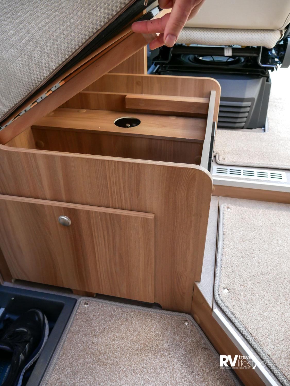 Storage under the front seat