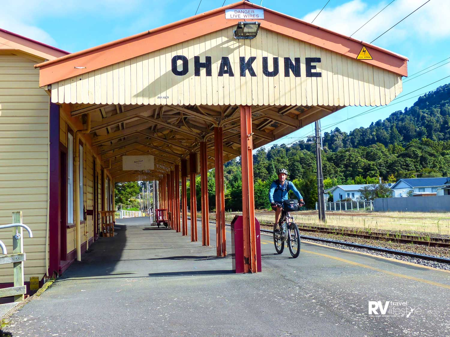 Above: The quaint Ohakune Railway Station which is still in use Left: On the old viaduct and appreciating the new one beyond