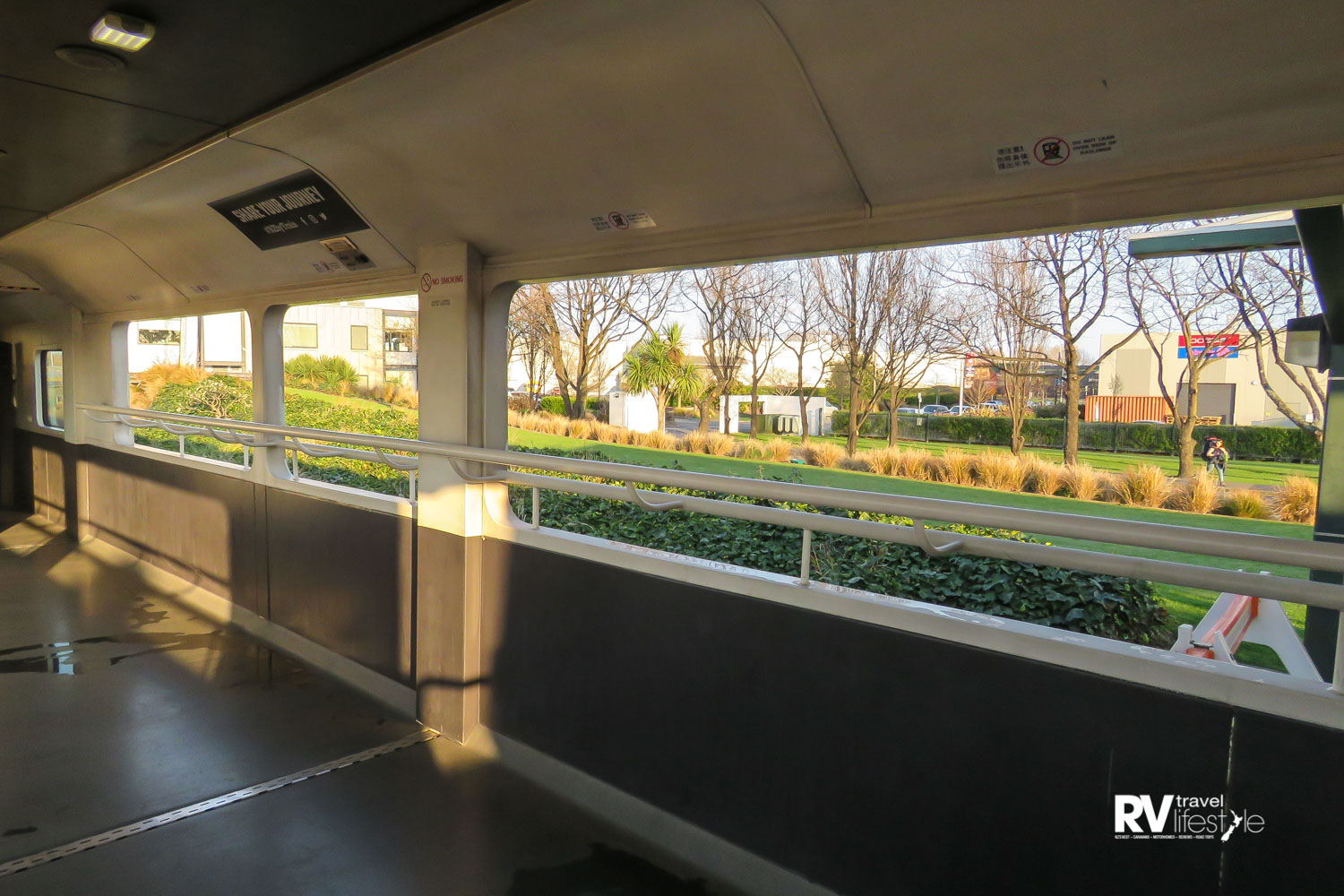 The open-air viewing carriage on the TranzAlpine