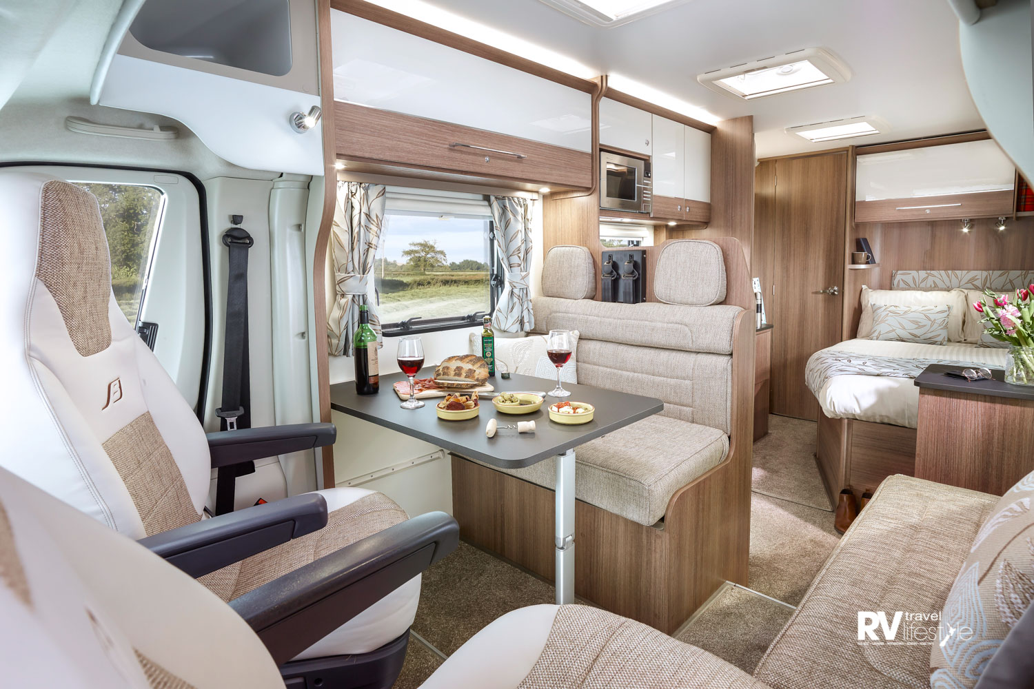 2018 Bailey Advance 76–4: Interior – front lounge through to rear bedroom. These models are arriving on sales yards thru November and December