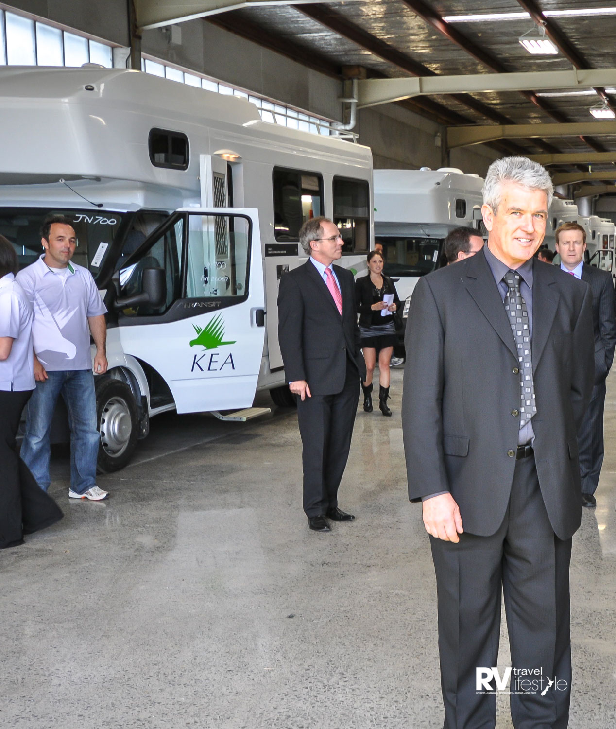 Grant Brady at the opening of the new purpose- built manufacturing plant at the KEA Campers site in Albany in October 2010