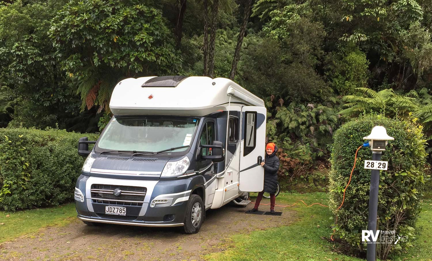 Winter time and it's cold and wet at the Blue Lake Top 10 Holiday Park, but Wendy will find it warm and cosy inside the Tracker FB