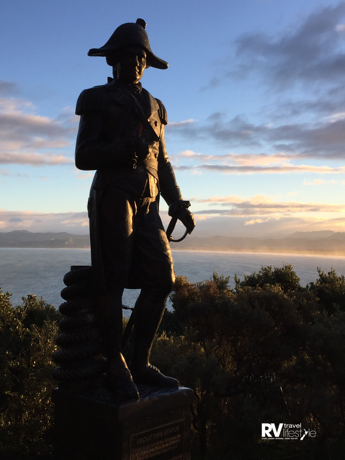 The controversial statue of Captain James Cook on Titirangi-Kaiti Hill. Photo by Justine Tyerman