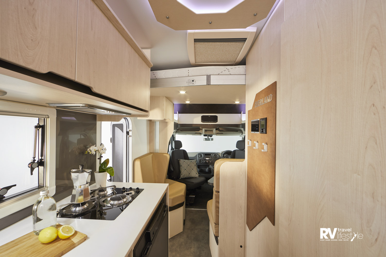 Stylish interior and well-designed kitchen give the motorhome a bright and airy feeling
