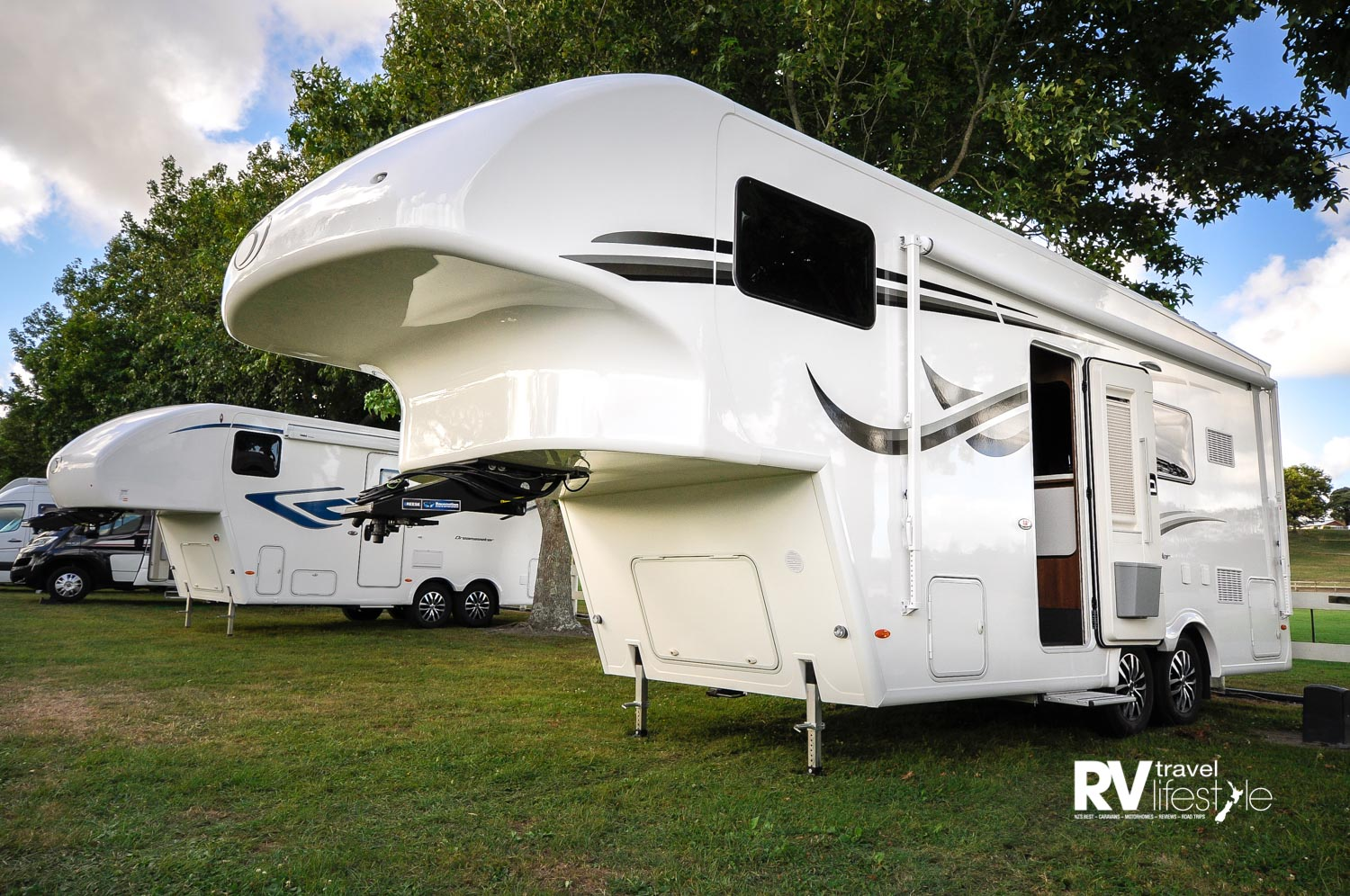 The reviewed four-berth Celtic Rambler on the right, the smaller Dream Seeker on the left is a five-berth model