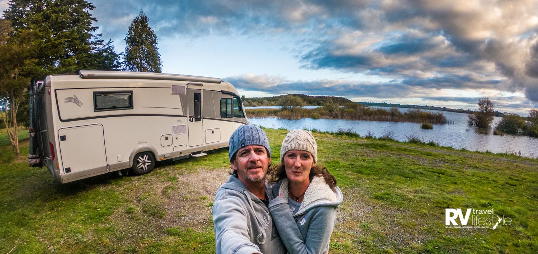 Practising selfies in Rotorua, our first week on the road