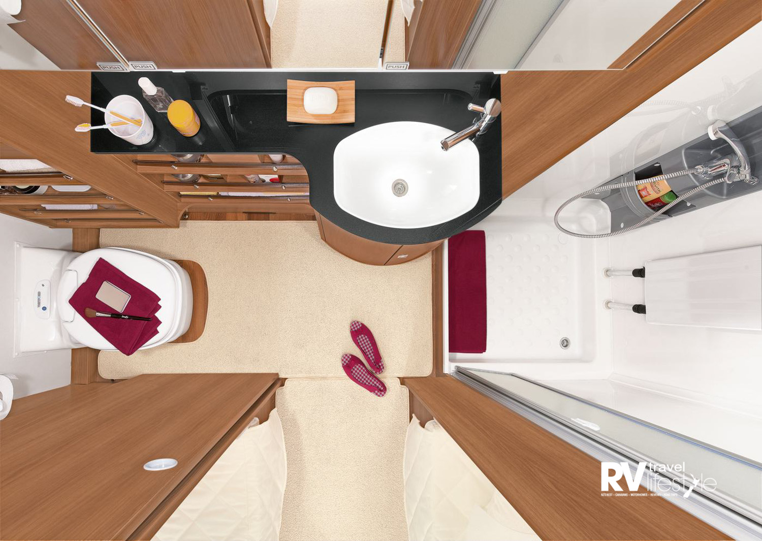 Separate shower, toilet and vanity are a winning combo in the Nomad
